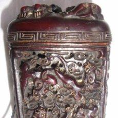 Arte: ANTIGUA PITILLERA O TABAQUERA DE VIAJE CHINA EN CUERNO TALLADO CAJITA RAPE. Lote 101321643