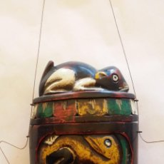 Arte: ANTIGUA TABAQUERA DE MADERA INDONESIA TALLADA A MANO. Lote 50688569
