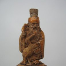 Arte: ANTIGUA PEQUEÑA BOTELLA FRASCO ORIENTAL SNUFF CHINA ANCIANO SABIO CON GRULLA. Lote 51228156