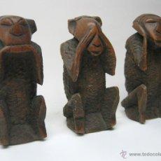 Arte: S.XIX XVIII - LOS 3 MONOS SABIOS SAN SARU - ANTIGUAS TALLAS JAPONESAS EN MADERA DE ROBLE. Lote 51515696