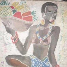 Arte: MUJER NEGRA CON FRUTAS TROPICALES. Lote 51918860