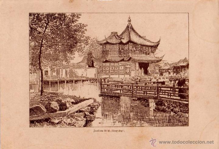 ANTIQUISIMA LITOGRAFIA,SHANGHAI, JARDINES DE TE,140X200MM (Arte - Étnico - Asia)