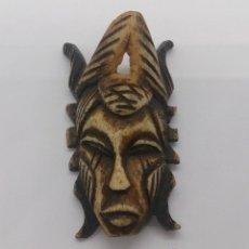 Arte: COLGANTE ANTIGUO DE MASCARA AFRICANA PARA CEREMONIA TRADICIONAL EN MARFIL TALLADO, ETNIA SENUFO .. Lote 52923498