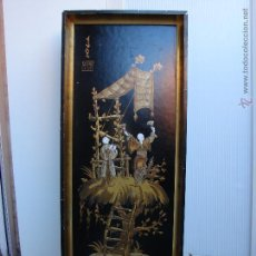 Arte: CUADRO LACADO CHINO ANTIGUO. PINTURA CHINA SOBRE TABLE. TEMA CHINO. CON MARDO DORADO ORIGINAL. Lote 53052905
