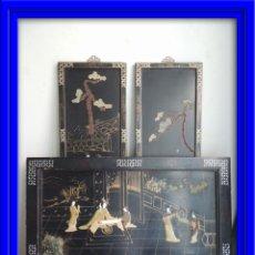 Arte: TABLAS LACADAS CHINAS CON ADORNOS DE PIEDRAS DURAS JADE. Lote 53156546