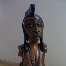 Arte: BELLO BUSTO ESCULTURA MUJER AFRICA FIGURA TALLADA A MANO PIEZA UNICA AFRICANA ANTIGUO. Lote 53299778