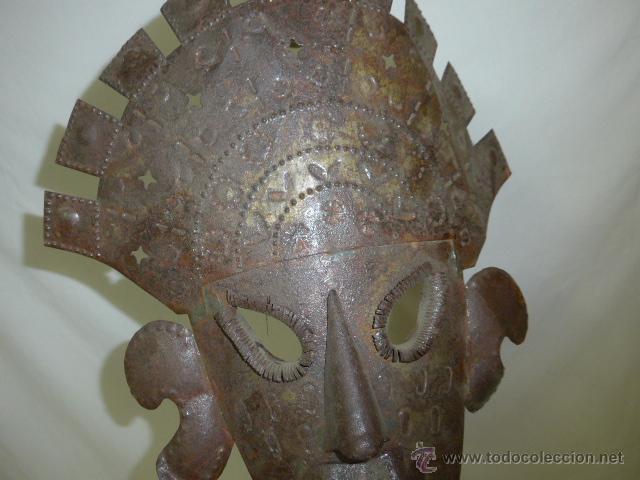 Arte: Antigua mascara etnica de metal, mejicana, mejico, original - Foto 2 - 53683770