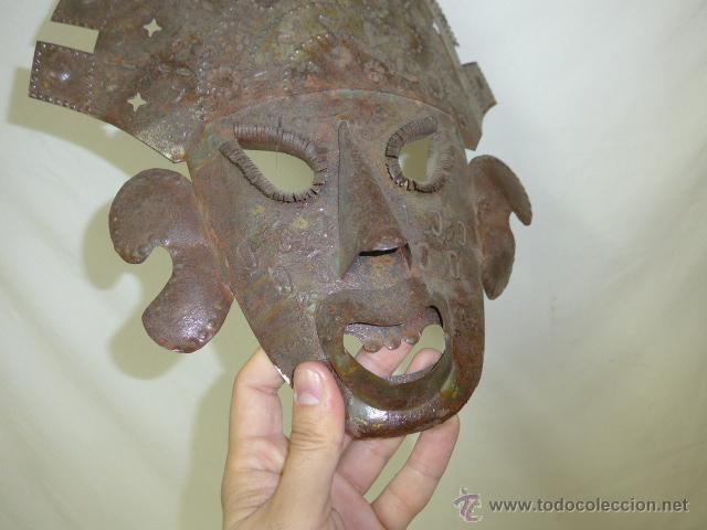 Arte: Antigua mascara etnica de metal, mejicana, mejico, original - Foto 3 - 53683770