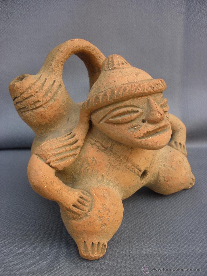 Arte: Arte de Calima o azteca rara figura de terracota arte precolombino guerrero dios - Foto 3 - 53842806