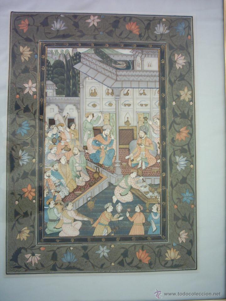 PINTURA PERSA SOBRE TELA. 50 X 37 CM. (Arte - Étnico - Asia)