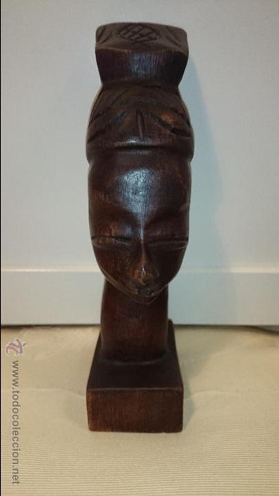 PRECIOSO BUSTO DE MADERA DE MUJER AFRICANA - 1355 (Arte - Étnico - África)