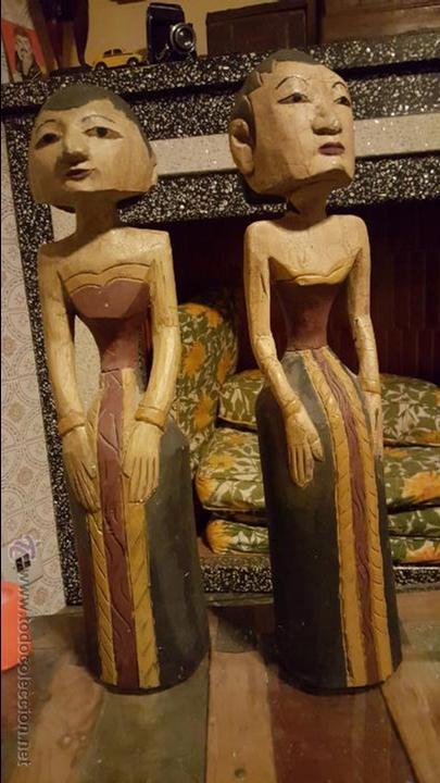 PAREJA DE FIGURAS DE MADERA, ETNICAS 48CM DE ALTURA (Arte - Étnico - Asia)