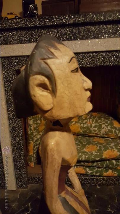 Arte: Pareja de figuras de madera, etnicas 48cm de altura - Foto 2 - 54165198