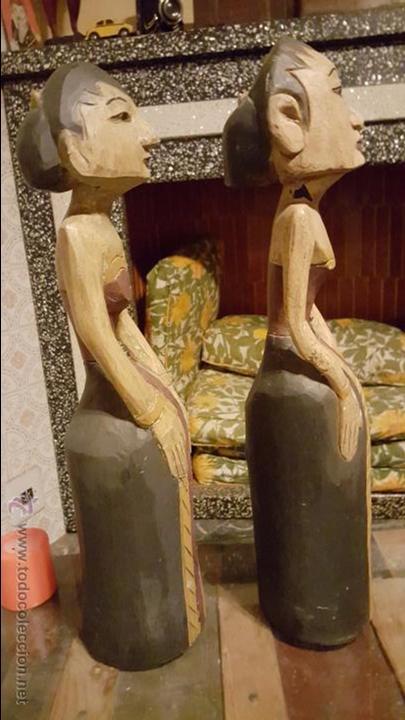 Arte: Pareja de figuras de madera, etnicas 48cm de altura - Foto 3 - 54165198