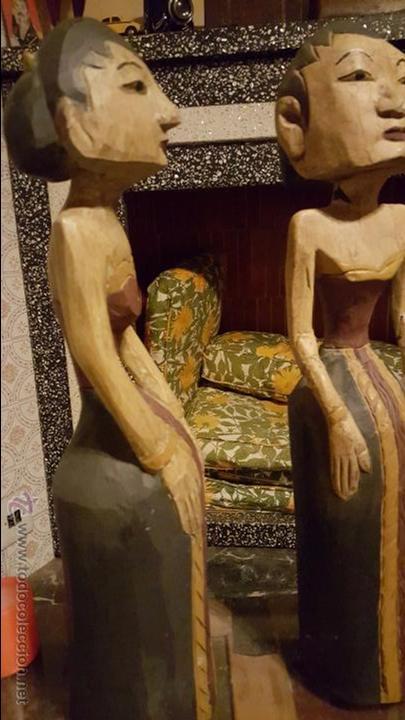 Arte: Pareja de figuras de madera, etnicas 48cm de altura - Foto 4 - 54165198