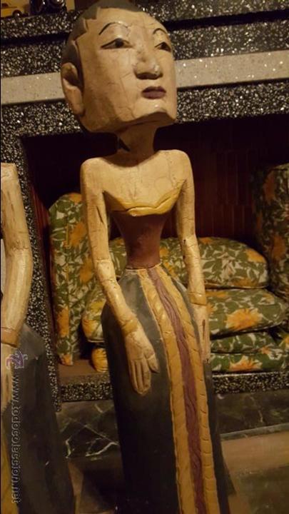 Arte: Pareja de figuras de madera, etnicas 48cm de altura - Foto 7 - 54165198