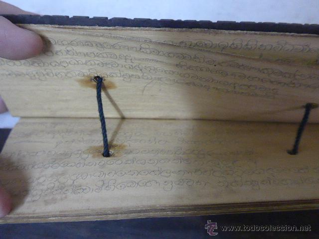 Arte: Antigua tabla y hojas de lectura religiosa, de pais oriental, original, a identificar - Foto 5 - 54409585
