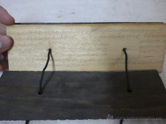 Arte: Antigua tabla y hojas de lectura religiosa, de pais oriental, original, a identificar - Foto 6 - 54409585