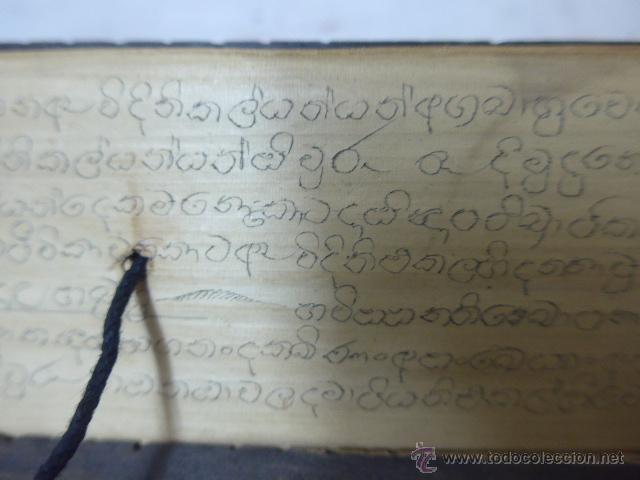 Arte: Antigua tabla y hojas de lectura religiosa, de pais oriental, original, a identificar - Foto 7 - 54409585