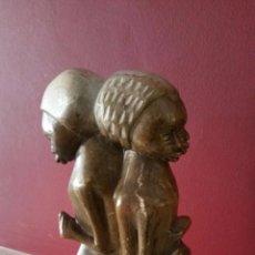 Arte: ANTIGUA ESCULTURA ORIGINAL DE ÁFRICA EN PIEDRA TRES MUJERES - 25 X 15 CM. Lote 54596907