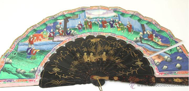 AB140. ABANICO DE LAS MIL CARAS. MADERA LACADA. CHINA. SIGLO XIX (Arte - Étnico - Asia)