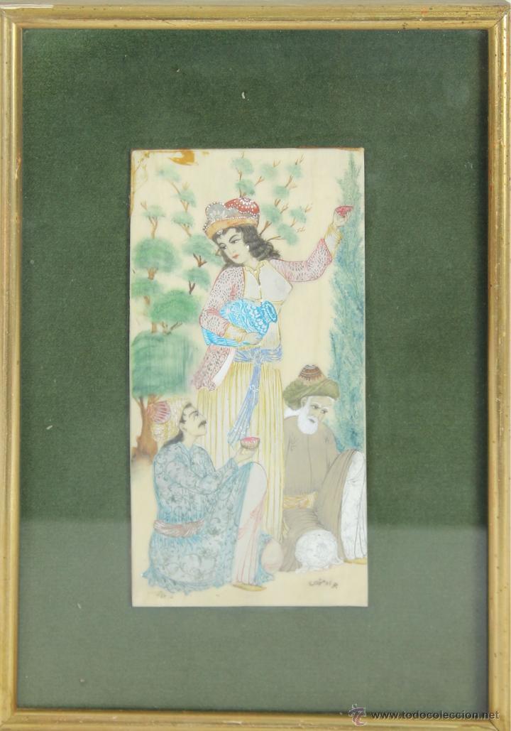 O1-062. MINIATURA INDIA. HUESO POLICROMADO. SIGLO XIX-XX (Arte - Étnico - Asia)