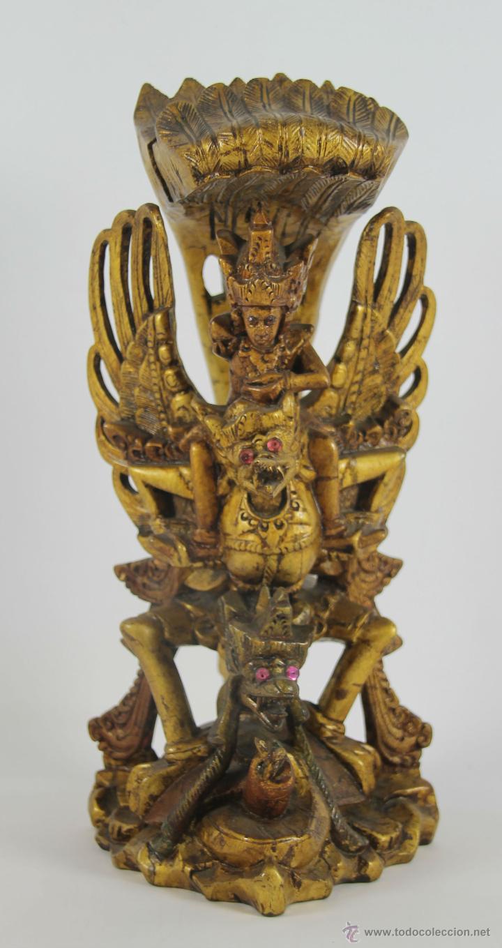 ESCULTURA ORIENTAL (TAILANDIA?). MADERA TALLADA Y DORADA. SIGLO XX. (Arte - Étnico - Asia)