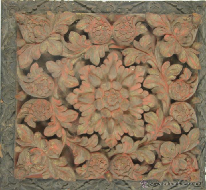PLAFÓN ARTESONADO. ORIENTAL EN MADERA POLICROMADA. SIGLO XVIII-XIX (Arte - Étnico - Asia)