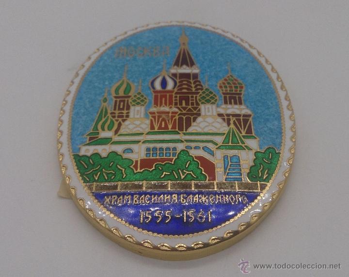 Arte: Antiguo medallón de metal con esmaltes cloisonné y esmaltes al fuego, Catedra de San Basilio, Rusia. - Foto 2 - 54838583