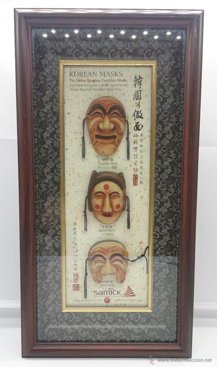 CUADRO ANTIGUO DE ARTE ASIATICO, JUEGO DE MASCARAS COREANAS DE EXORCISMO HAHOE BYEOLSIN ENMARCADAS . (Arte - Étnico - Asia)