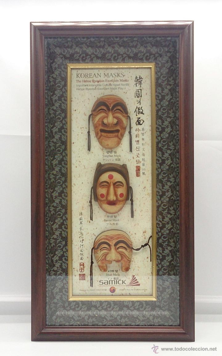 Arte: Cuadro antiguo de arte asiatico, juego de mascaras Coreanas de exorcismo Hahoe Byeolsin enmarcadas . - Foto 3 - 55142798