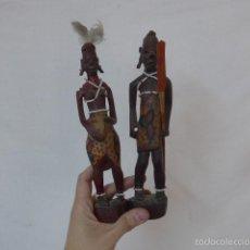 Arte: PAREJA DE ESCULTURA DE MADERA TALLADA AFRICANA, GUERREROS MASAI, KENIA, ANTIGUOS, AFRICA. Lote 55826562