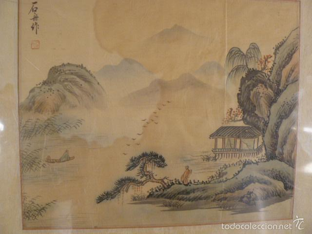 Arte: ACUARELA CHINA SOBRE PAPEL DE ARROZ - Foto 2 - 125019900