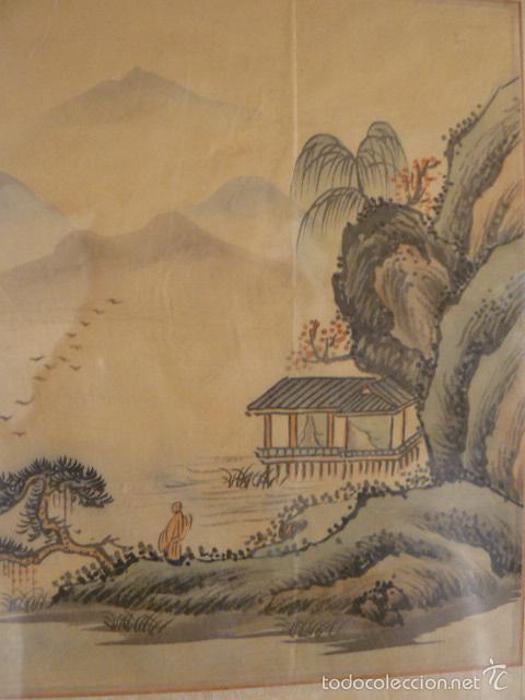 Arte: ACUARELA CHINA SOBRE PAPEL DE ARROZ - Foto 3 - 125019900