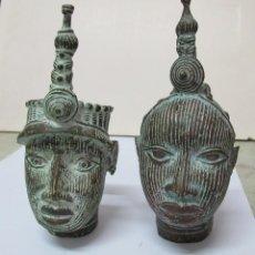 Arte: 2 CABEZA AFRICANAS IFÉ (NIGERIA)-BRONCE. Lote 103019979