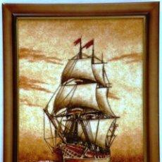 Arte: CUADRO HECHO CON ARENA Y TROCITOS DE AMBAR. Lote 56739520