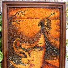 Arte: CUADRO HECHO CON ARENA Y TROCITOS DE AMBAR. Lote 56739554