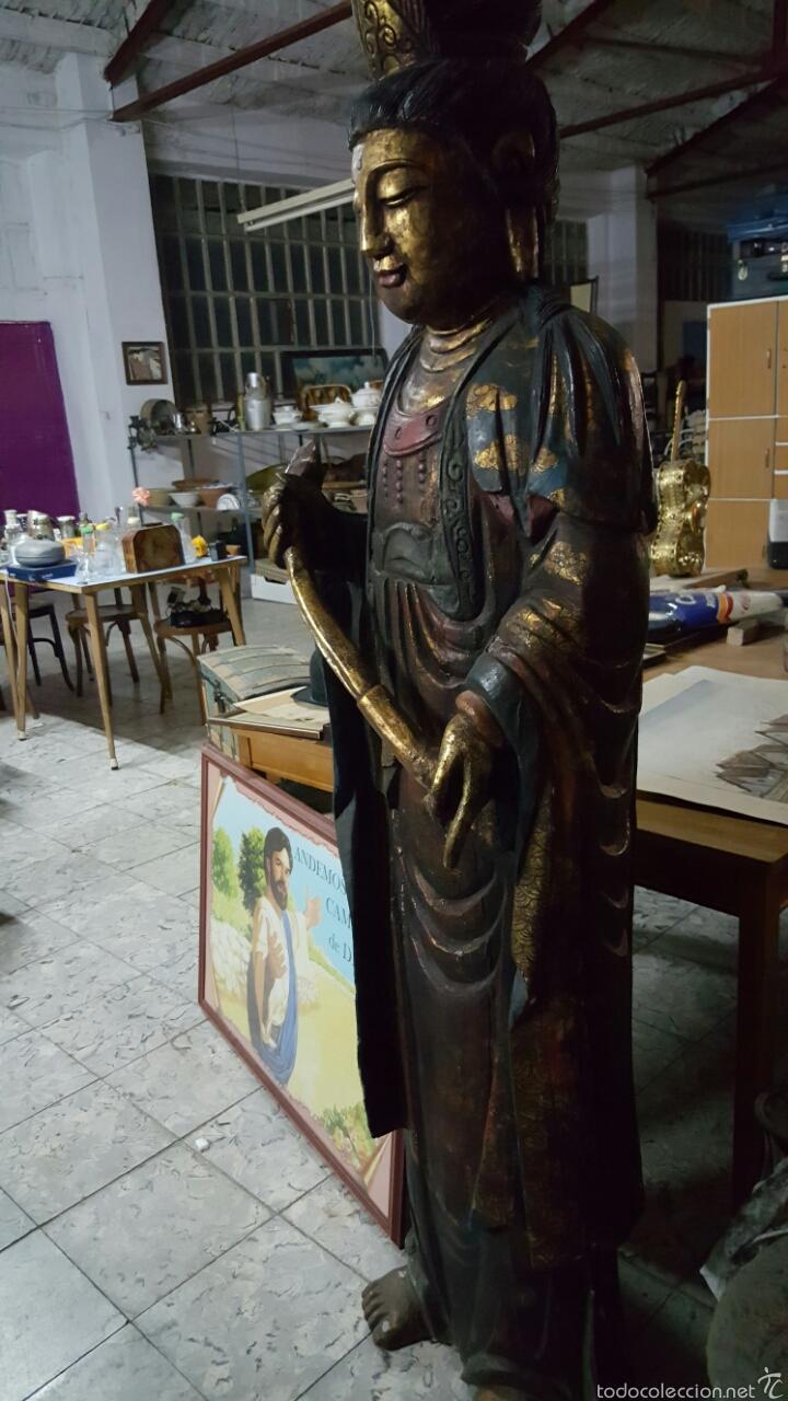 ENORME FIGURA BUDISTA DE MADERA POLICROMADA 1.80M (Arte - Étnico - Asia)