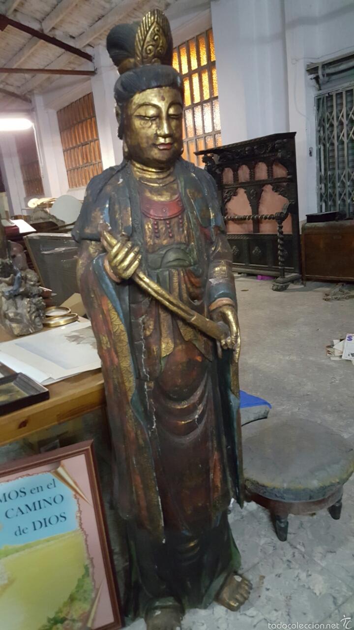 Arte: Enorme Figura budista de madera policromada 1.80m - Foto 3 - 122613567