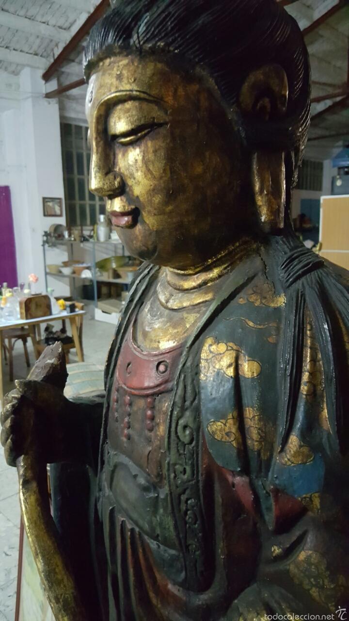 Arte: Enorme Figura budista de madera policromada 1.80m - Foto 4 - 122613567