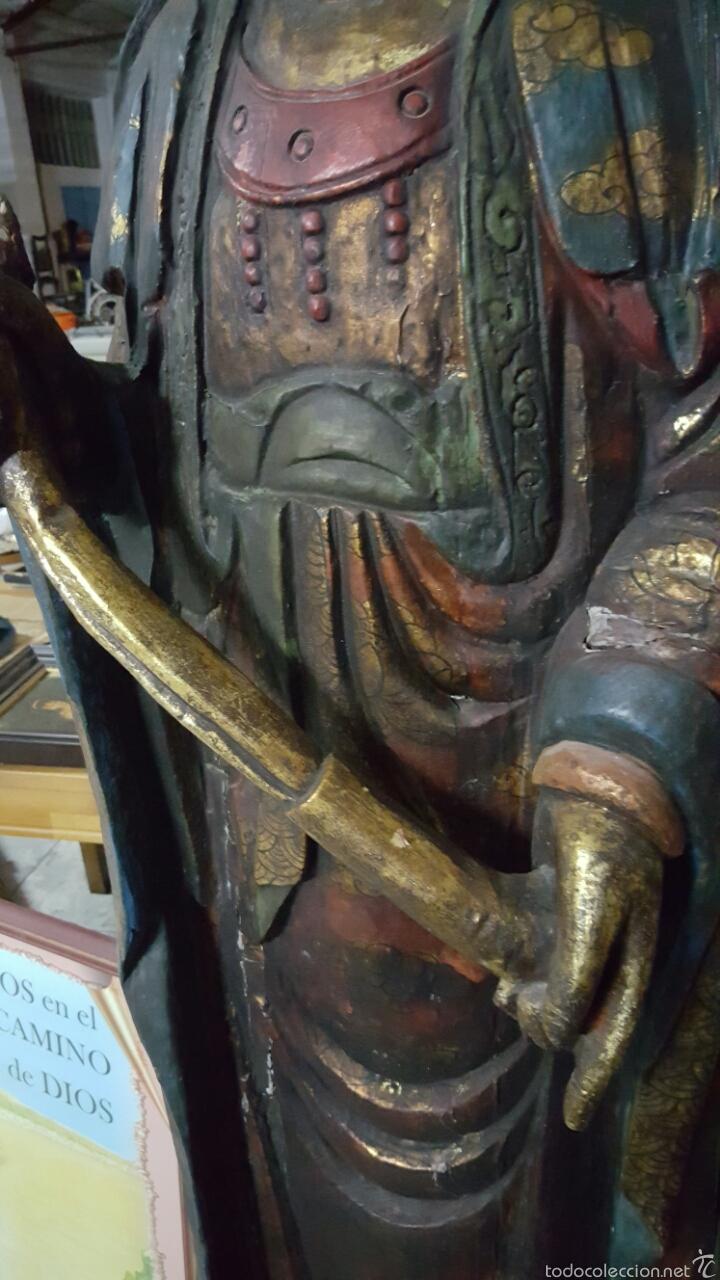 Arte: Enorme Figura budista de madera policromada 1.80m - Foto 5 - 122613567