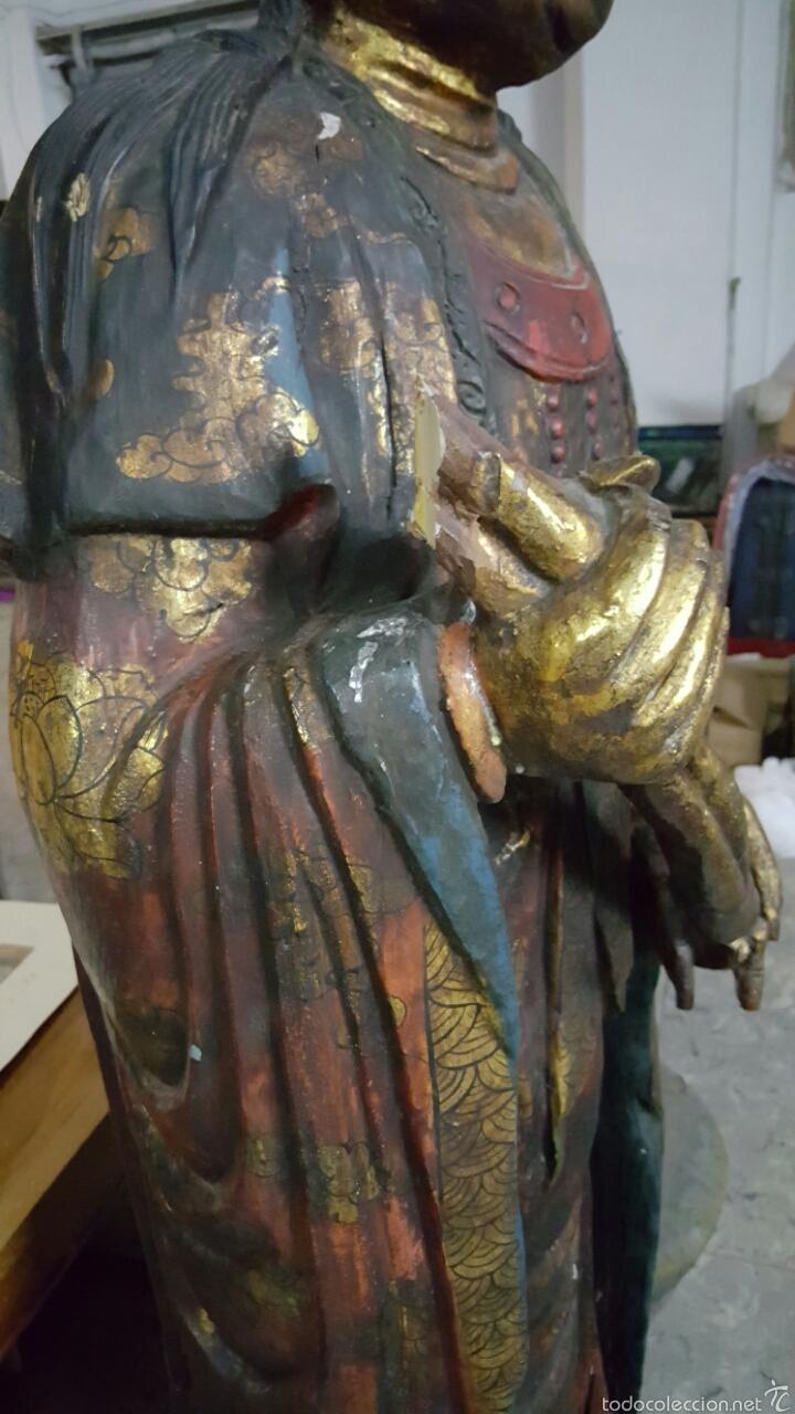 Arte: Enorme Figura budista de madera policromada 1.80m - Foto 6 - 122613567