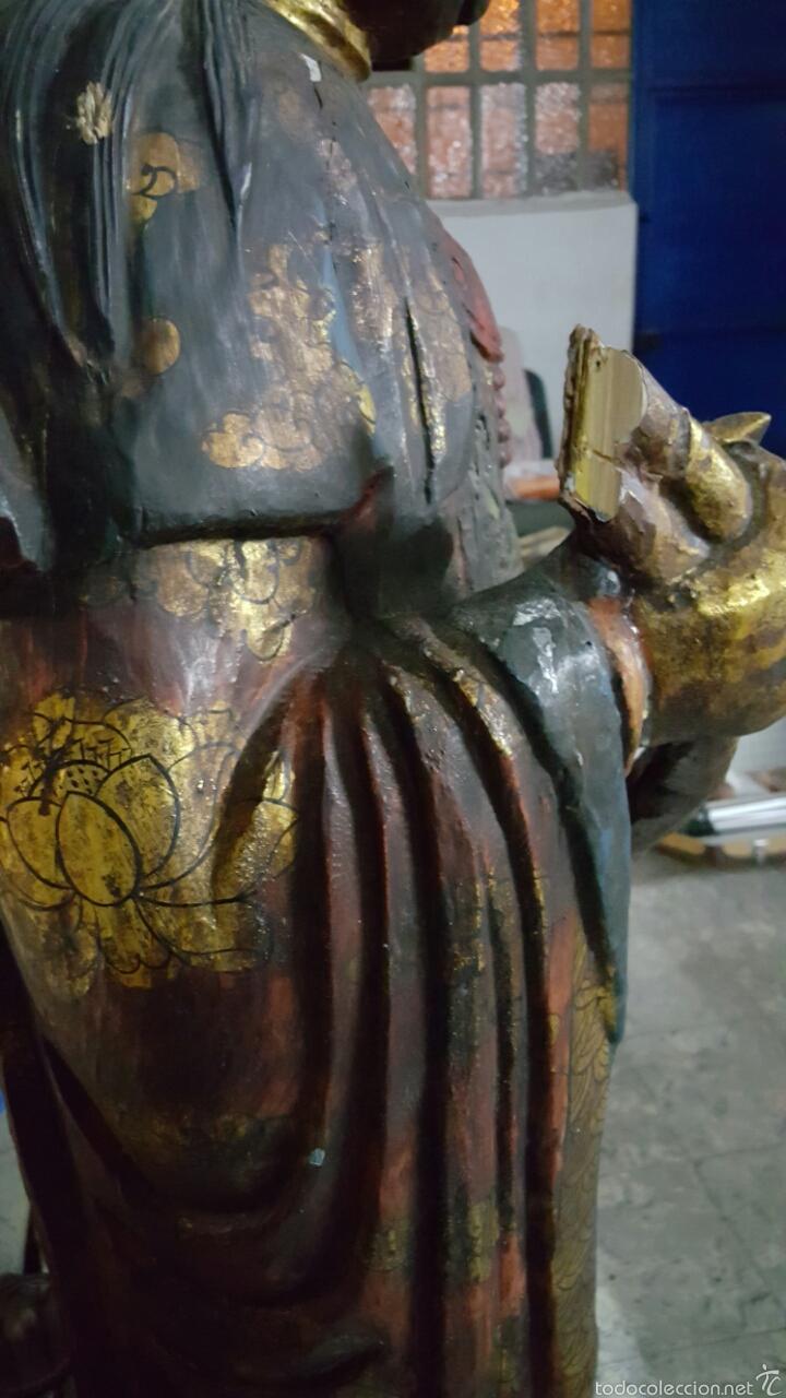 Arte: Enorme Figura budista de madera policromada 1.80m - Foto 7 - 122613567