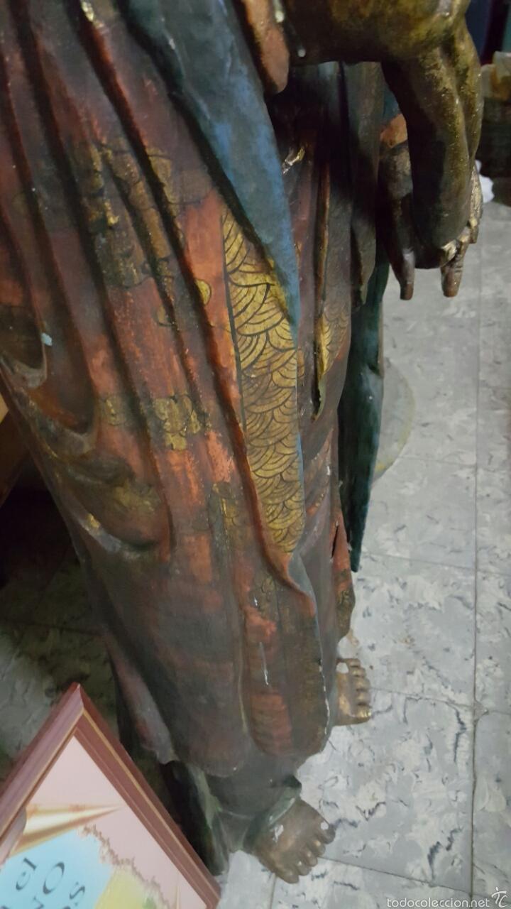 Arte: Enorme Figura budista de madera policromada 1.80m - Foto 8 - 122613567