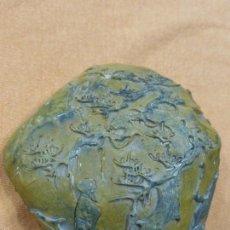 Arte: ANTIGUA Y EXQUISITA PIEDRA NATURAL DE JADE TALLADA CON MOTIVOS ORIENTALES.ORIGINAL XIAMEN-CHINA. Lote 57094195