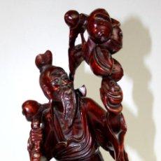Arte: SABIO CHINO. ESCULTURA EN MADERA. OJOS DE CRISTAL. CHINA. XIX-XX.. Lote 57645094