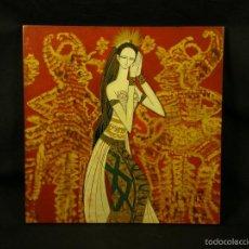 Arte: PANEL LACA INDONESIA BALI AÑOS 70 BAILARINA PINTADA A MANO 30X29,6CMS. Lote 57648017