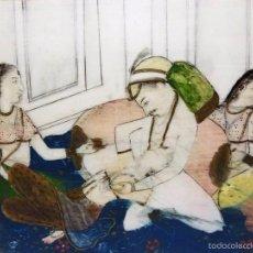 Arte: ANTIGUA MINIATURA DE PINTURA AL OLEO HINDÚ ESCENA CORTESANA SOBRE PLACA MARFIL. Lote 58067061