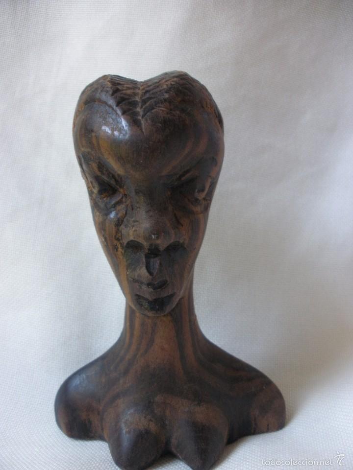 ESCULTURA MUJER BUSTO AFRICANO TALLA DE MADERA EBANO DECORACIÓN ETNICA TIKI AFRICA (Arte - Étnico - África)