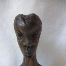 Arte: ESCULTURA MUJER BUSTO AFRICANO TALLA DE MADERA EBANO DECORACIÓN ETNICA TIKI AFRICA. Lote 58450833